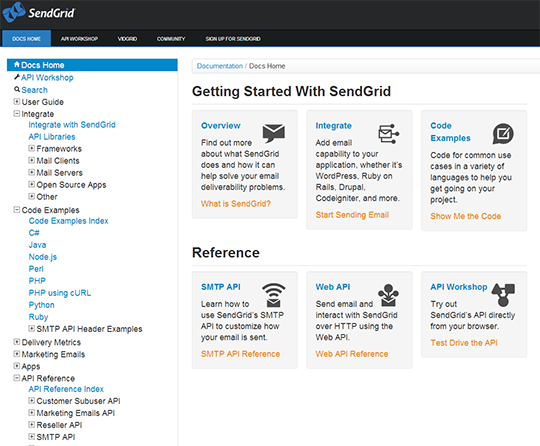 SendGrid API documentation